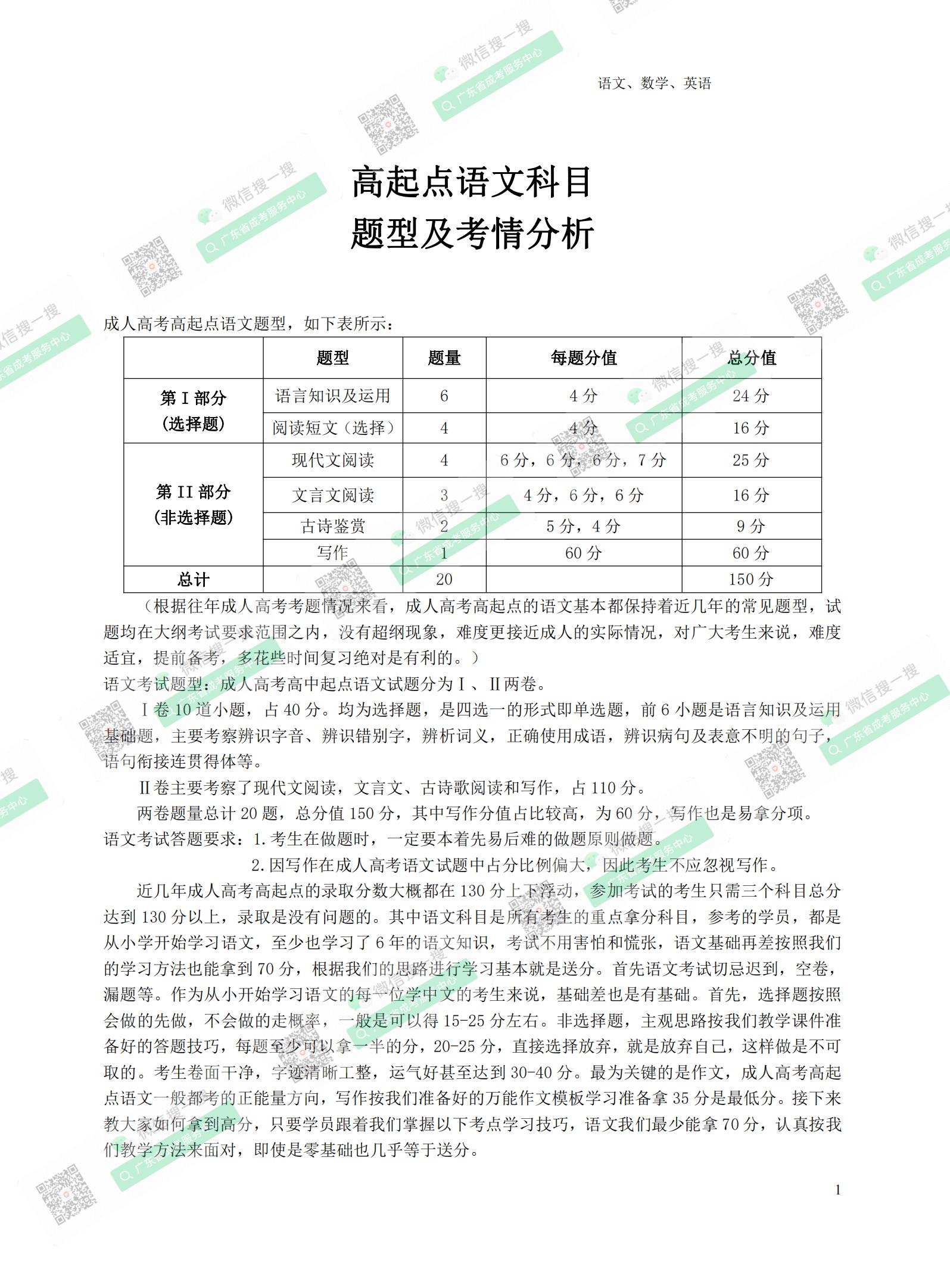 2021年广州成人高考复习资料:高起点语文科目(电子版,可下载)